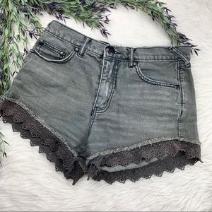 Free People Lace Gray Shorts